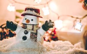 Картинка зима, снег, снежинки, Новый Год, Рождество, снеговик, happy, Christmas, winter, snow, Merry Christmas, Xmas, snowman, …