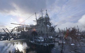 Картинка вода, церковь, руины, Metro Exodus