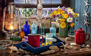 Картинка цветы, стиль, лампа, маки, кофе, ромашки, букет, окно, кружка, фонарь, сахар, ракушки, бутылки, морские звёзды, …