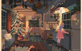Картинка растения, олень, холодильник, кухня, лежит на полу, деревянный домик, две девочки, нарядная ёлка, by Mochipanko