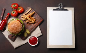Картинка фото, Бутылка, Гамбургер, Помидоры, Еда, Кетчуп, Разделочная доска, Картофель фри, Лист бумаги