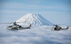 Картинка Вертолет, Фудзияма, UH-1Y Venom, US Marine Corps, AH-1Z Viper