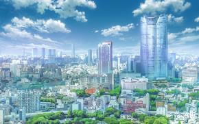 Картинка небо, город, Твоё Имя, Kimi No Na Wa