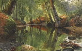 Картинка датский живописец, 1895, Лесной ручей, Петер Мёрк Мёнстед, Peder Mørk Mønsted, Danish realist painter, A …