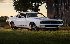 Картинка White, Tuning, Muscle car, Plymouth Cuda
