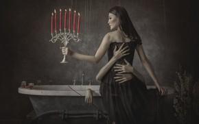 Картинка девушка, свечи, руки, ванна