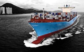 Картинка корабль, контейнеровоз, Maersk line
