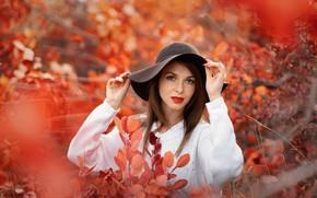 Картинка взгляд, шляпа, шатенка, Anna, боке, Evgeniy Vigurskiy