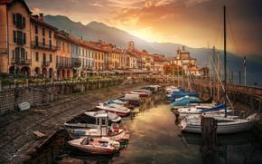 Обои море, лодки, причал, Италия, Каннобио