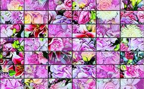 Картинка фон, текстура, стеклянная плитка, цветы вперемешку, настенный витраж, пастельные и яркие тона, цветочная абстракция