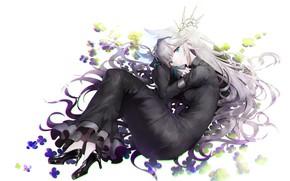 Картинка девушка, цветы, лежит, haori iori