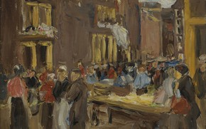 Картинка картина, городской пейзаж, 1905, Max Liebermann, Макс Либерман, Еврейский Квартал в Амстердаме
