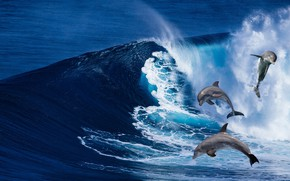 Картинка море, волны, рендеринг, дельфины