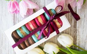 Картинка коробка, печенье, тюльпаны, ассорти, macaron