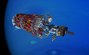 Картинка Spaceship, Planet, Планета, Космос, Арт, Space, Космический корабль, Space Container Ship, Maersk Line Orbital Tug, …
