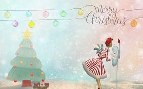 Картинка письмо, девушка, шарики, праздник, рисунок, графика, Рождество, Новый год, ёлка, новогодние украшения, почта, дамочка, новогодние …