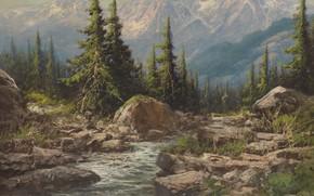 Картинка Laszlo Neogrady, горный пейзаж, Hungarian painter, Ласло Неогради, венгерский живописец, Mountain landscape
