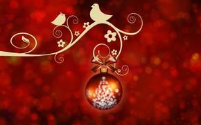 Картинка фон, шарик, Новый Год, птички