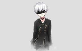 Картинка мальчик, слёзы, повязка на глаза, плачет, Nier Automata, YoRHa No 9 Type S