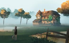 Картинка пейзаж, туман, дом, девочка, живопись