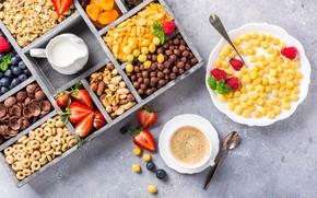 Картинка кофе, завтрак, молоко, хлопья, Iryna Melnyk