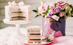 Картинка цветы, букет, торт, слои