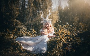 Картинка трава, листья, девушка, свет, деревья, ветки, природа, лицо, поза, стиль, заросли, руки, фея, блондинка, костюм, …