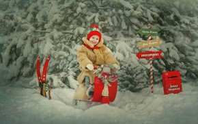 Картинка зима, снег, деревья, природа, обработка, ели, девочка, ребёнок, указатели, Лысенкова Ксения