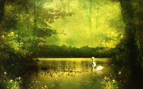 Картинка зелень, лес, лето, деревья, пейзаж, природа, озеро, пруд, парк, рендеринг, берег, лебеди, фотоарт