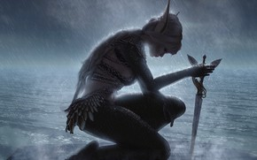 Картинка девушка, дождь, эльф, воин, кинжал