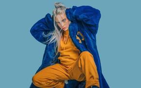 Картинка блондинка, шуба, Певица, singer, Billie Eilish, Билли Айлиш