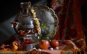 Картинка цветы, стакан, чай, яблоки, сахар, ваза, натюрморт, самовар, платок, поднос, баранки, Светлана Сушкевич
