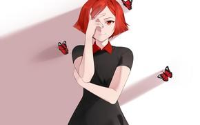 Картинка взгляд, девушка, бабочки, аниме, арт, красные волосы, Sunnypoppy