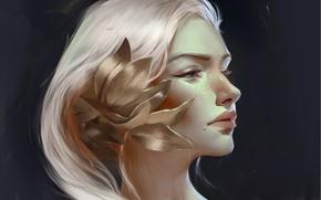 Картинка цветок, взгляд, девушка, фон, арт, профиль