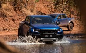 Картинка вода, Ford, Raptor, 2018, Ranger, брод, пикапы