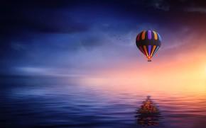 Картинка море, отражение, воздушный шар