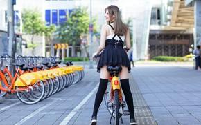 Картинка велосипед, ножки, азиатка, боке