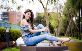 Картинка девушка, поза, Luke Luo