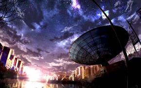Картинка вода, закат, город, радиоинтерферометр