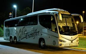 Картинка дорога, ночь, автобус, зеркала