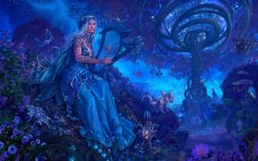 Картинка звезды, бабочки, цветы, магия, планеты, растения, Warcraft, magic, синий фон, flowers, stars, planets, blue background, …
