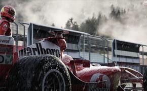 Картинка Спорт, Машина, Дождь, Формула 1, Болид, Шумахер, Michael Schumacher, Михаэль Шумахер, Рендеринг, Schumacher, Ливень, Спорткар, …