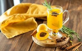 Картинка стакан, Напиток, абрикос