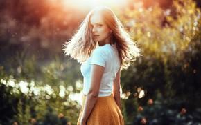 Картинка взгляд, девушка, свет, поза, волосы, юбка, Anatoli Oskin, Даяна