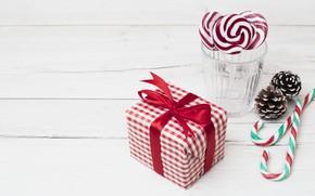 Картинка праздник, подарок, Новый год, candy, lollipops