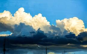 Картинка небо, облака, лэп