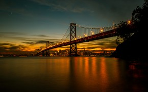 Картинка lights, bridge, water, night, San Francisco
