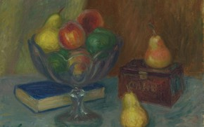 Картинка картина, книга, ваза, фрукты, Уильям Глакенс, William James Glackens, Натюрморт с Японской Шкатулкой