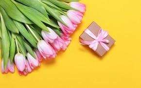 Картинка желтый, фон, букет, тюльпаны, розовые