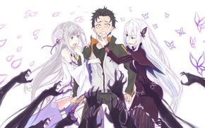 Картинка аниме, арт, Субару, Эмилия, Re: Zero kara Hajimeru Isekai Seikatsu, С нуля, едьма